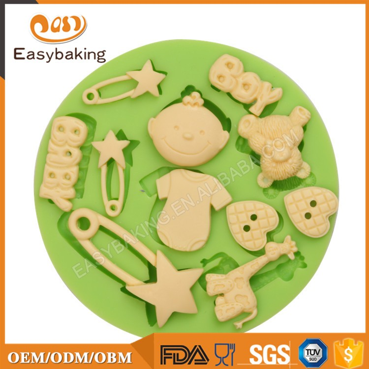 ES-1221 Baby Boy Assortment Round Silicone Molds for Fondant Cake Decorating 11 Cavities