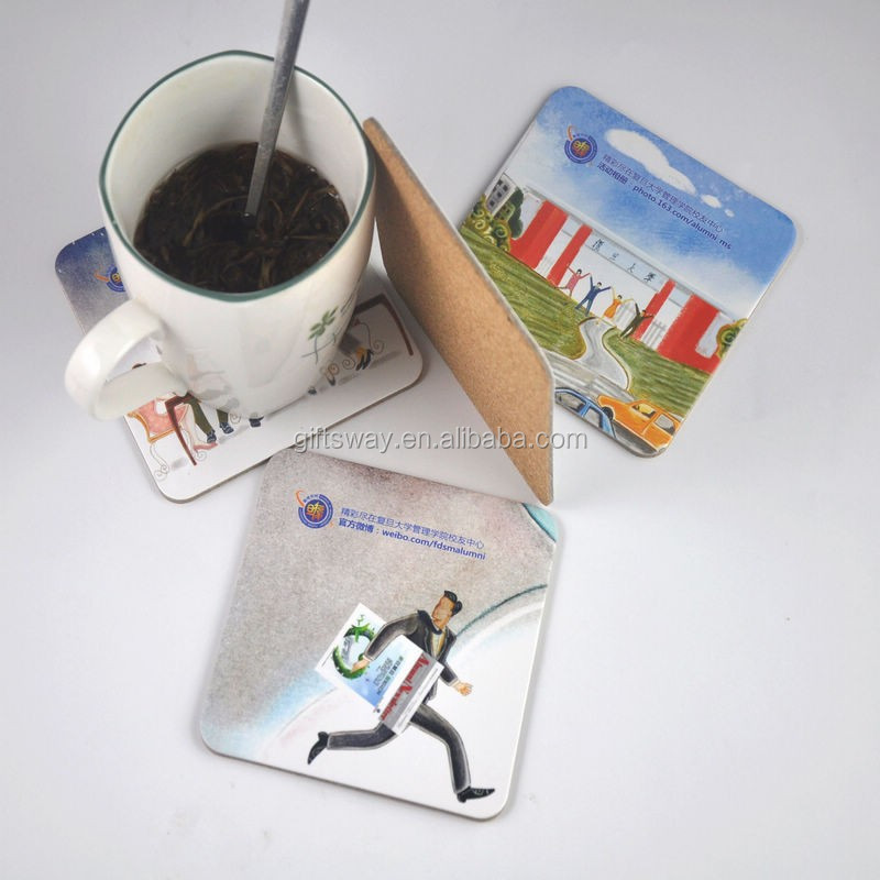 Alibaba express nice and useful cardboard custom drink square wholesale cork coasters
