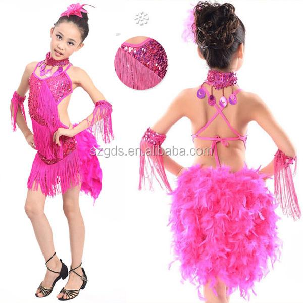 En Stock Traje De La Danza Con Flecos De Plumas Vestido De Baile ...