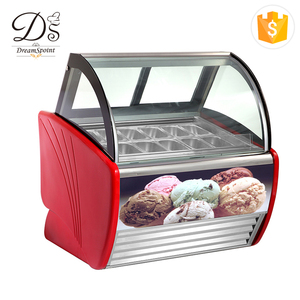Factory direct sale glass display showcase commercial supermarket shop ice cream refrigerator
