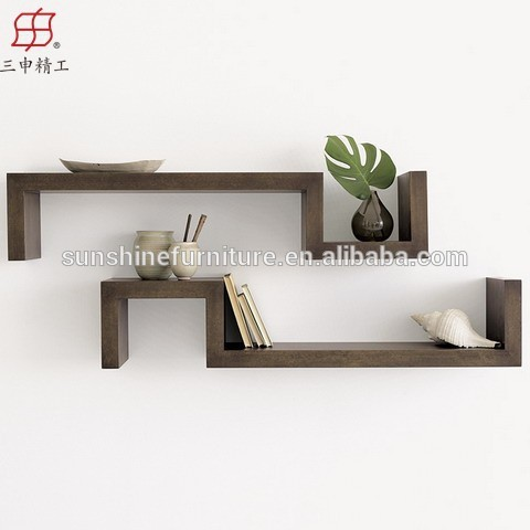 2017 Modern Style Wooden Display Rack Wall Mounted Wood Mdf Decorative Floating Shelf