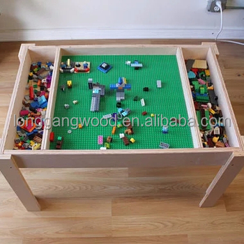 Kids Furniture Lego Table With Toy Storage Children Study Table For