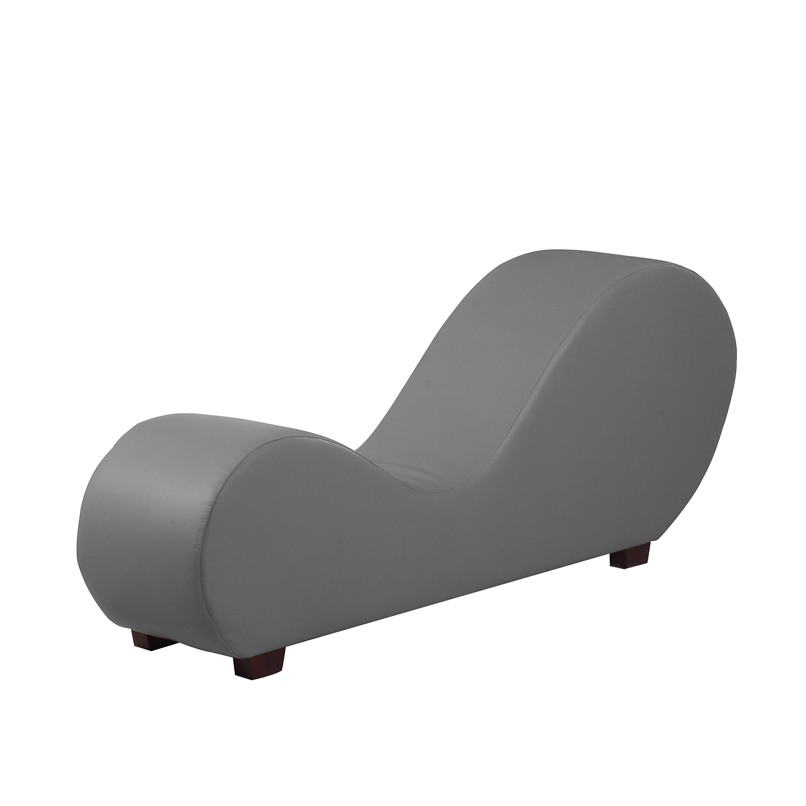 Modern Bonded Leather chaise Lounge Yoga Chair for Stretching and Relaxation (Grey)