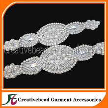 Wholesale beaded silver crystal rhinestone pearl bridal belt sashes applique for wedding dress large custom made trimming
