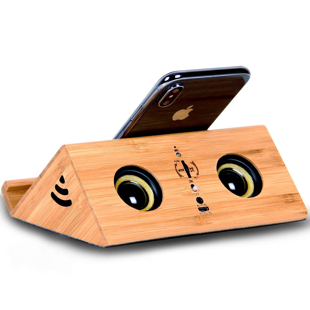Wooden Bluetooth Speaker Handmade Bamboo HiFi Stereo Subwoofer Wireless Loud Speaker with Phone Stand Holder for Beach Party Shower Speaker