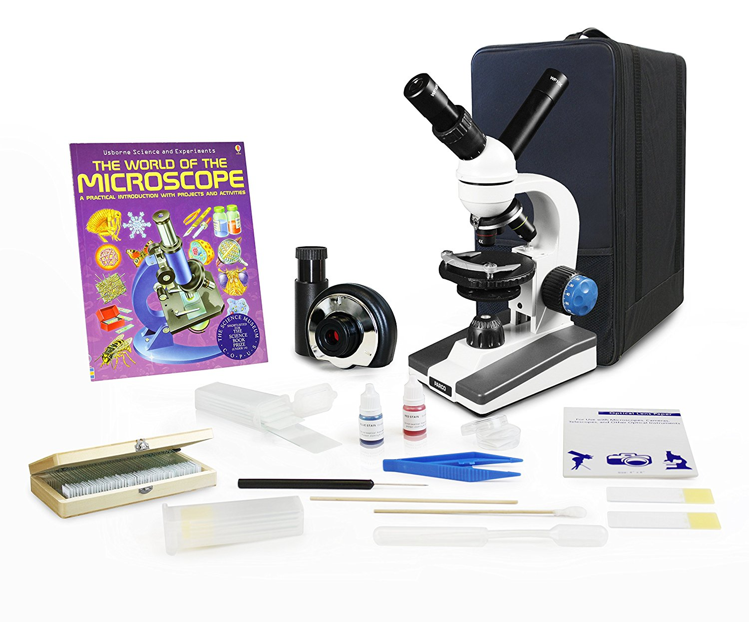 Parco Scientific Dual View Elementary Level Microscope, Microscope Book, Microscope Discovery Kit, 50 Prepared Slides Set, Carrying Case, 1.3MP Digital Eyepiece Camera, Free Gift Package ($20 Value)