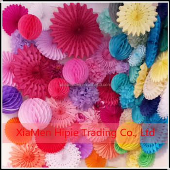 Tissue Paper Fans Pom Poms Honeycomb Ball Wedding Party Baby Living ...