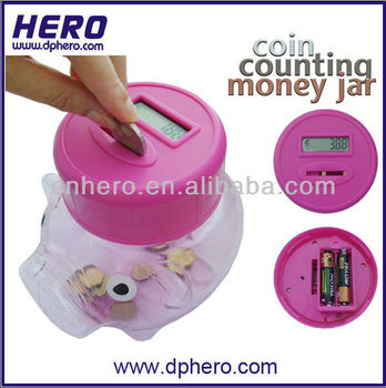 Large plastic coin bank money box piggy bank buy coin Coin sorting bank for kids