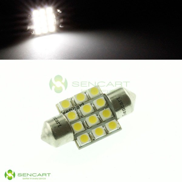 White 31mm Festoon Dome 12SMD  LED bulb 3175 DE3175 3022 1W  License light  Reading lights  Car dome light Free Shipping