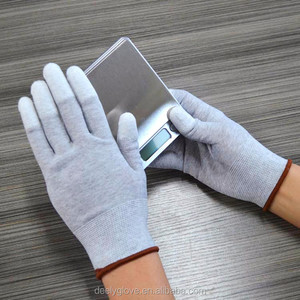 Carbon Anti Static Gloves , Palm Fit ESD PU Coated Gloves