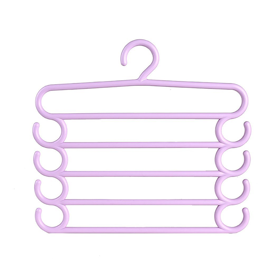 Clothes Hanger,Multi-layer Hanger rouser Rack, Colored Multi-Function Hanging Clothes Hanger, Closet Storage Trousers, Jeans, Jacket, Scarf, Hat, Towel space saving organizer,4 pieces. (Purple)