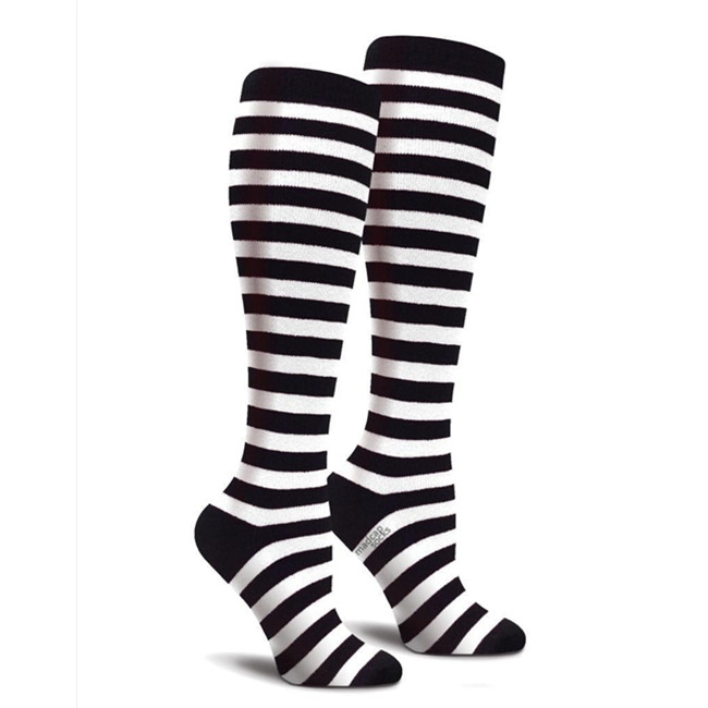 d8d96b74cf9 Black and White Striped Custom Knee High Socks Women Softball Cotton Girls Knee  Socks