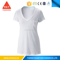 bamboo v-neck white t-shirts wholesale