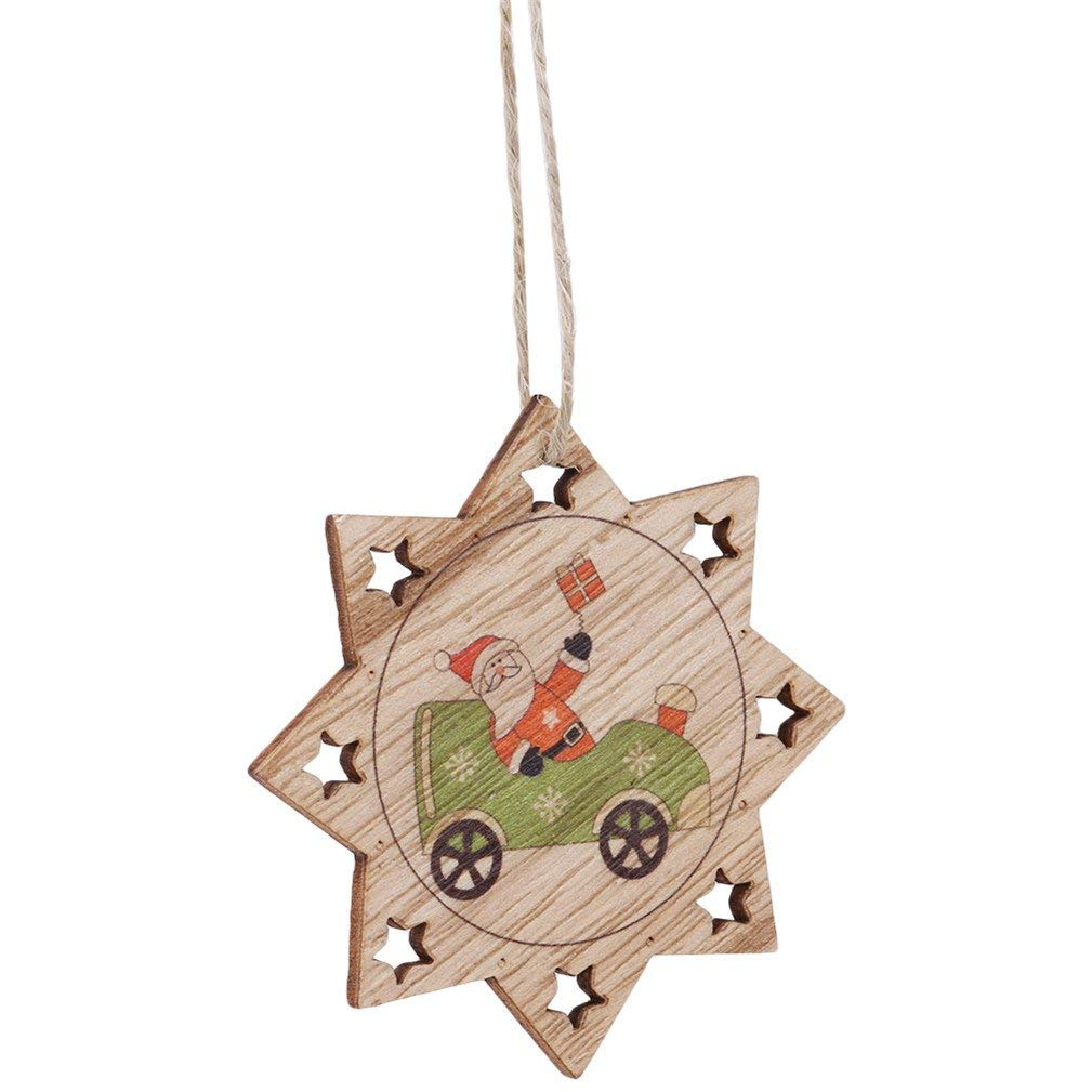 SONGLIN Xmas Wooden Pendants Santa Tree Drop Ornaments DIY Christmas Decorations Party Supplies Kids Gifts (Anise Star)