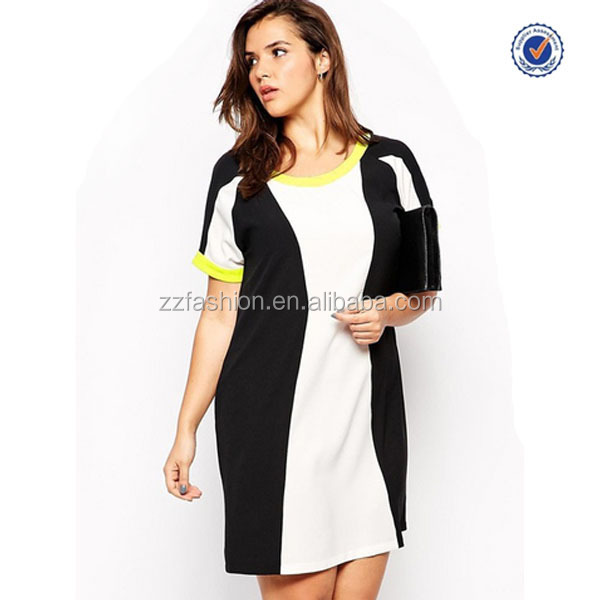 Plus Size 3xl-6xl Color Block Dress Latest Design Fat Women Casual ...