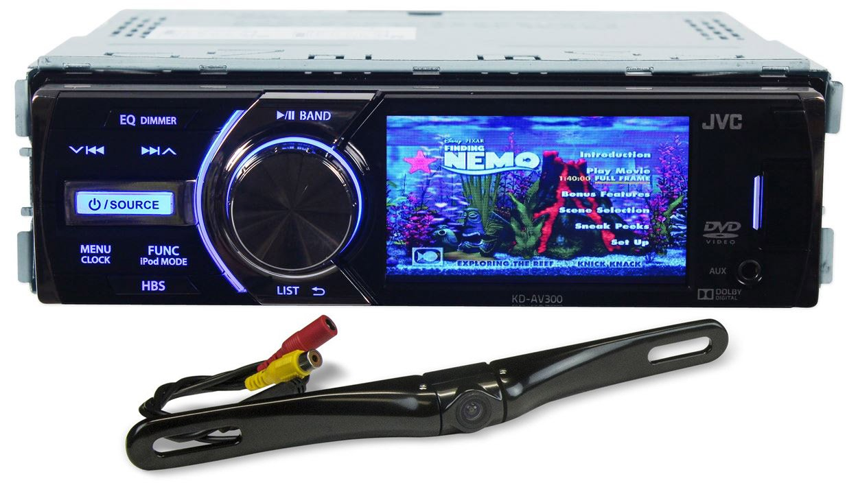 """Package: JVC KD-AV300 In-Dash Single Din Car DVD/CD Receiver With 3"""" Display, iPhone 2-Way control, USB/AUX, and A Wireless Remote + Rockville RBC5B Black Rearview Backup License Plate Bar Camera With Adjustable 170 Degree Wide Angle Lens"""