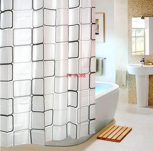 PEVA Bathroom Shower Curtains Water Proof Bath Curtain Plaid Pattern