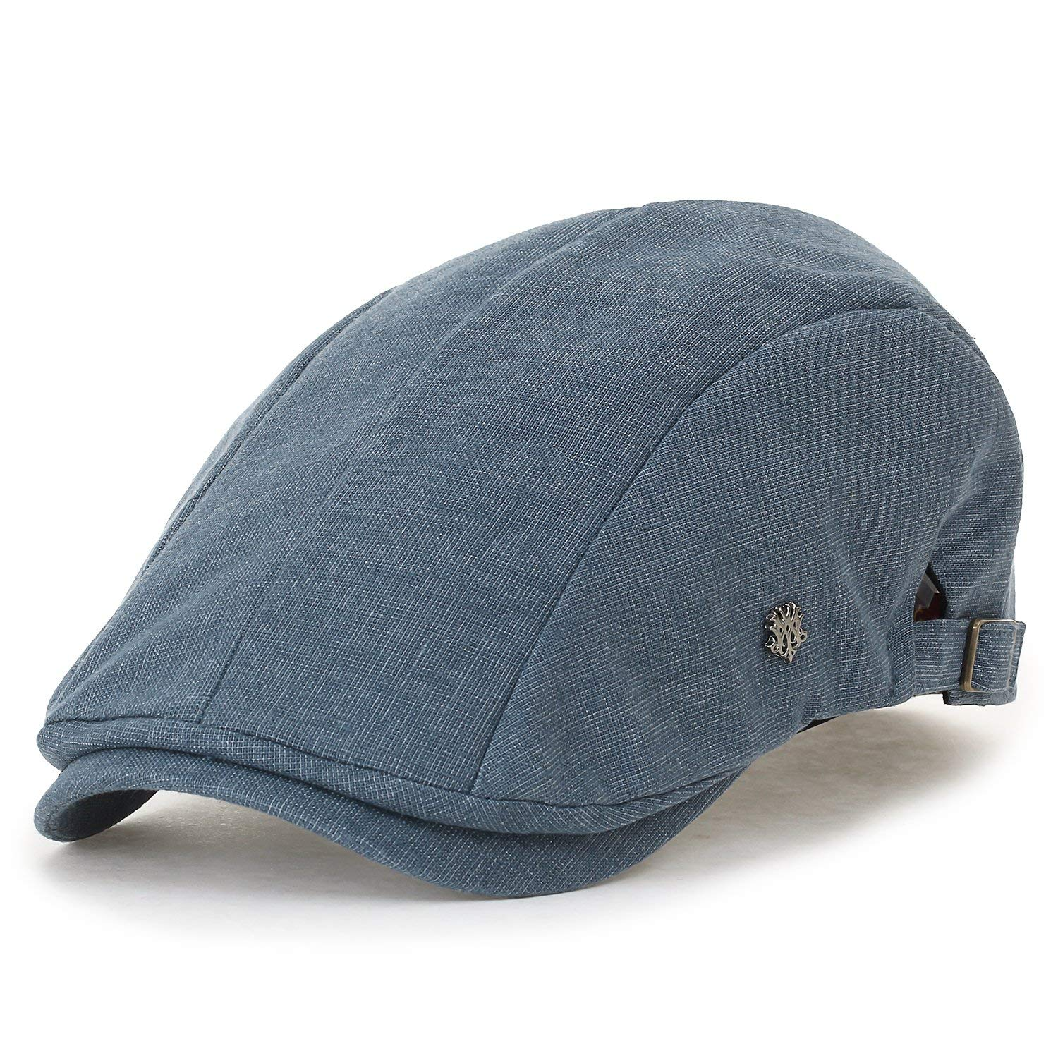 Get Quotations · ililily Linen Panel Gatsby Newsboy Hat Side Strap Cabbie  Hunting Flat Cap 806389f5c8d2