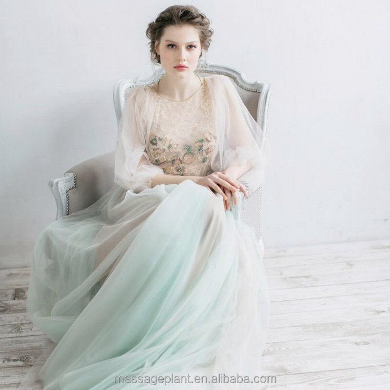 Lange Ärmel Brautkleid, Spitzehülsen-hochzeitskleid mit Chiffon und ...