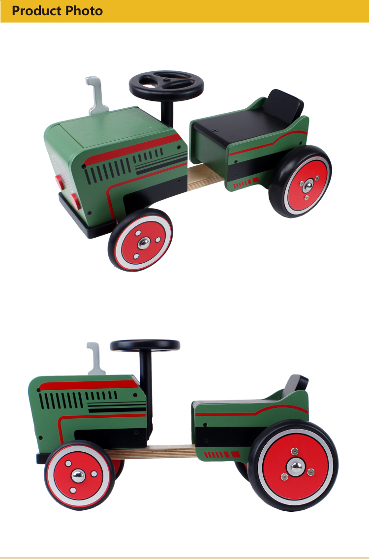 2017 hot sale Tractor Shape with 4 Big Wheels Wooden Ride on Car JW166