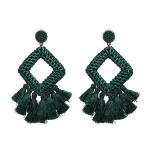 2019New Design Handmade Weave Rhombus with fabric Tassel Drop Earrings for Women boho silk thread earrings jewelry