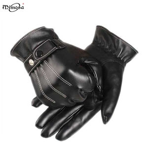 Factory wholesale winter warm touchscreen bike black PU leather driving Prevent Cold Outdoor hand glove for men