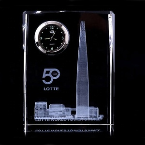 Crystal block glass blank cube paperweight with clock custom personalized 3D laser engraving architectural model photo crystal