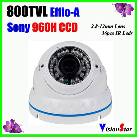 "Vandal-proof Camera With 1/3"" Sony 960H Exview HADII CCD 672/3AKA 800TVL 36Pcs IR Leds Dome Infrared CCTV Camera Vision Star"