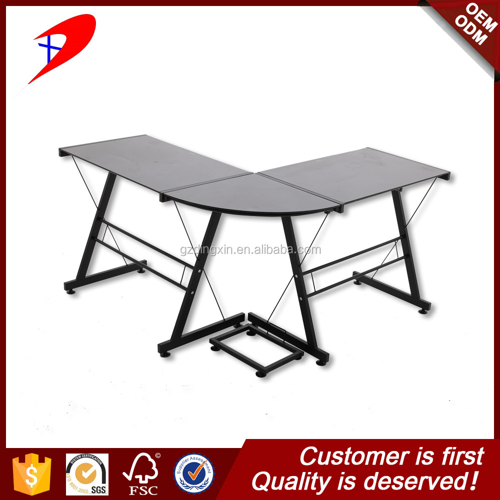 glass L shape executive table office furniture corner desk