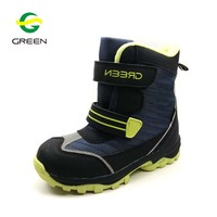 Greenshoe children snow boots for kids,fashion fur child winter hiking ankle boots kids leather winter boots