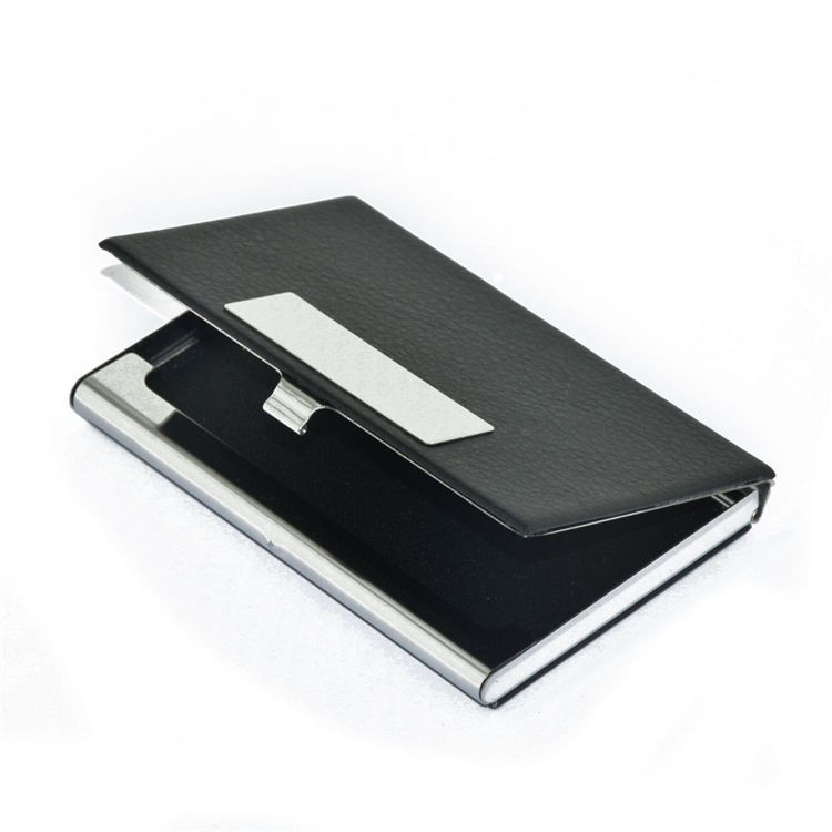 Cheap wholesale custom logo place leather cardholder with metal business card holder case