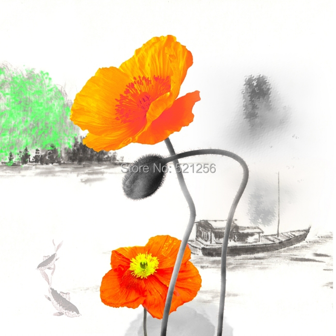 Modern Wall Art Home Decoration Printed Flower Oil Painting Canvas Prints Frameless Abstract Orange Poppy Paintings In Price On Alibaba