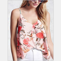 new fashion ladies' blouses floral printed tops with narrow straps adjustable women tops