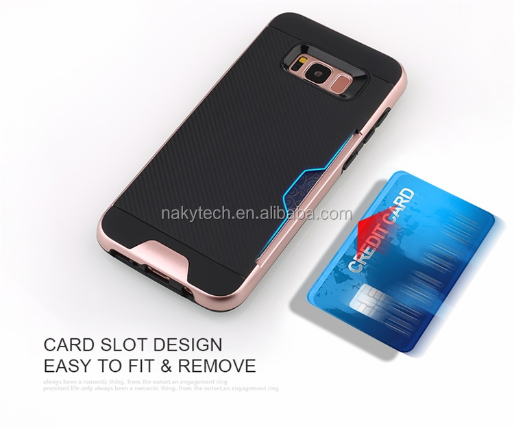Hot Selling New Pattern TPU+PC With Card Slots Hybrid Ring Armor Mobile Phone Case for Samsung S8/S8 plus