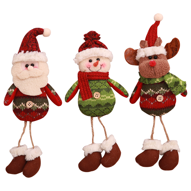 Christmas decorations new leg hanging old man snowman cloth art doll window decorations Christmas gifts for children