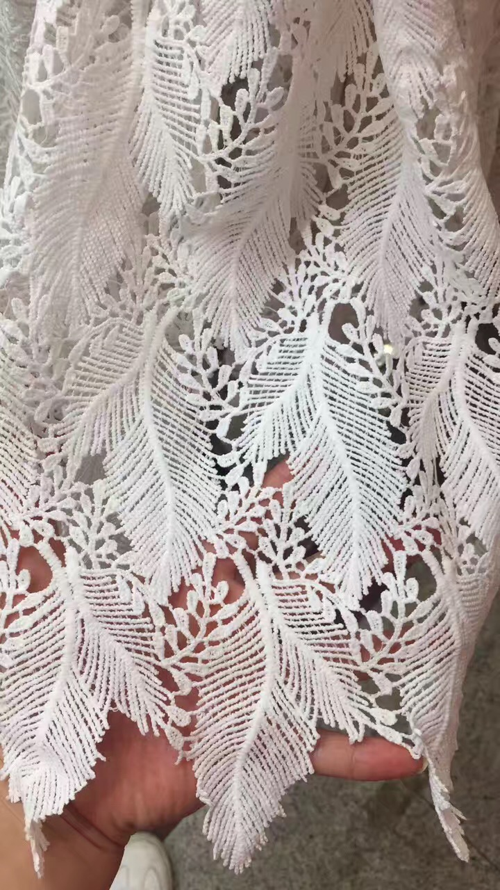Hot sales 100% milky polyester embroidery Lace Fabric from china factory