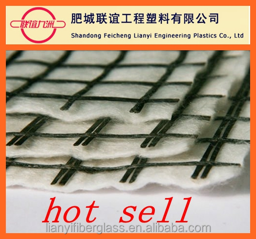 bitumen coated high tensile strength fiberglass geogrid composite geotextile