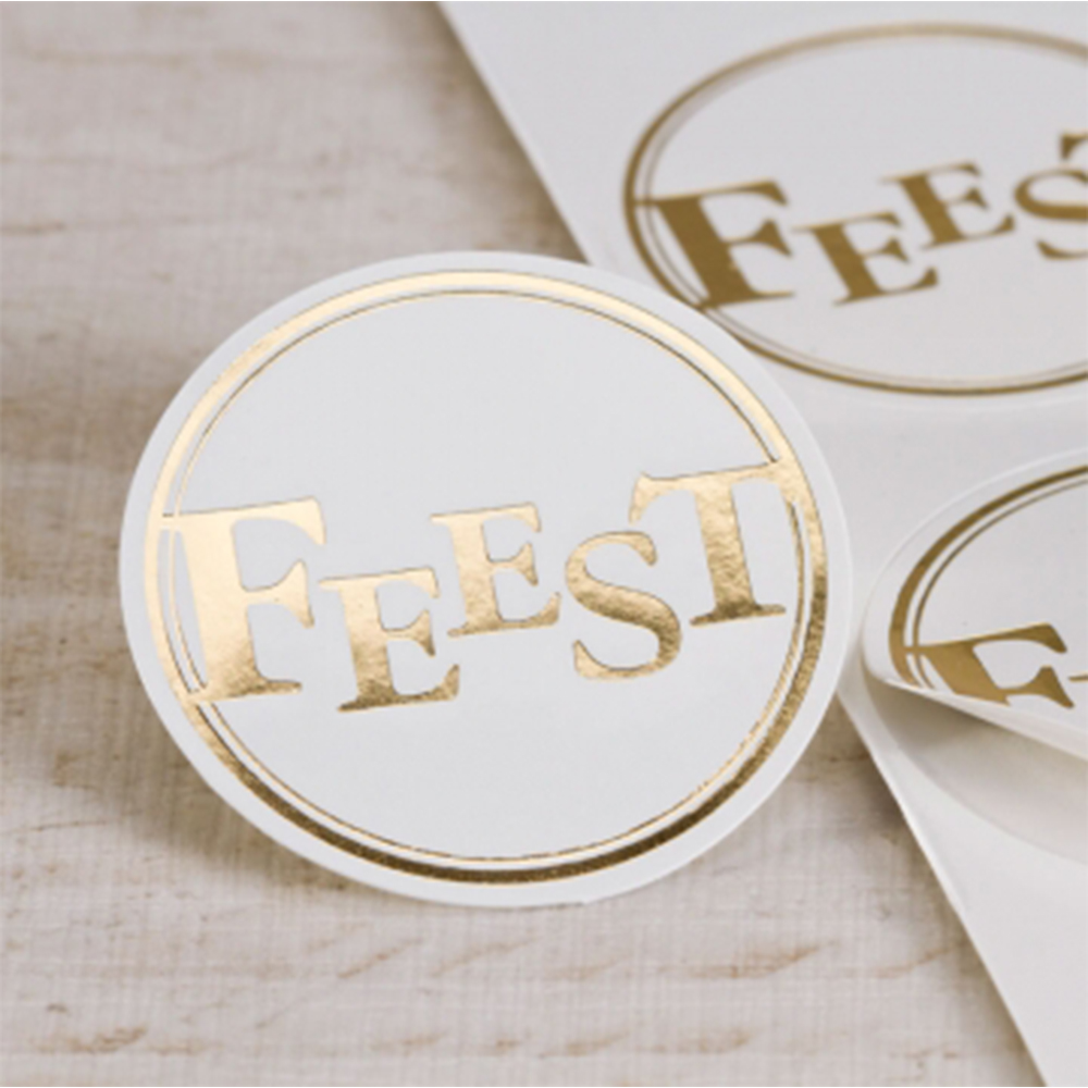 Custom clear stickers logo printing self adhesive transparent circle label with gold foil