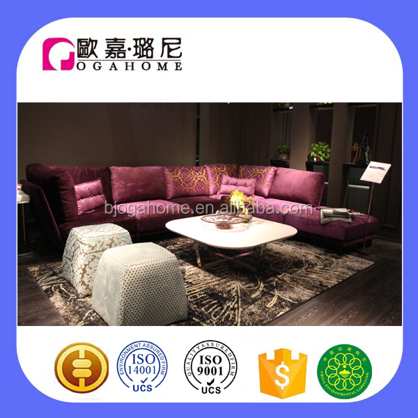 S15307 latest design purple fabric sectional sofa designs