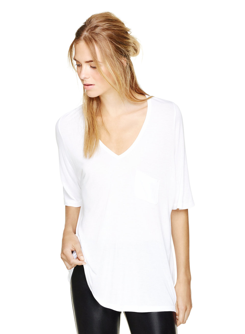 Plain White Loose Cotton T Shirt For Women