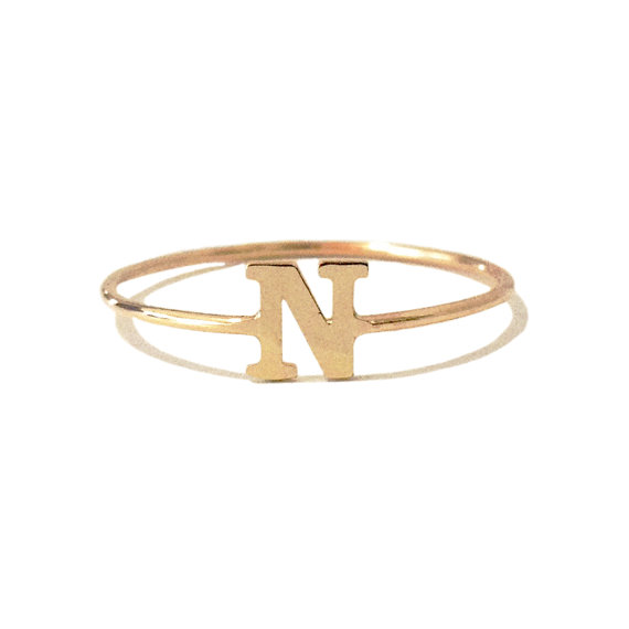 Solid 18K Gold Personalized Initial Alphabet Letter Name Charm Stackable Ring