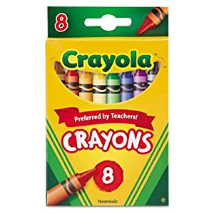 "Crayola LLC Products - Crayon Set, 3-5/8"", Permanent/Waterproof, 8/BX, Assorted - Sold as 1 BX - Bright, quality Crayola crayons in peggable box produce brilliant, even colors. Crayons are permanent and waterproof. Colors include black, blue, brown, green, orange, red, violet, yellow, blue-green,"