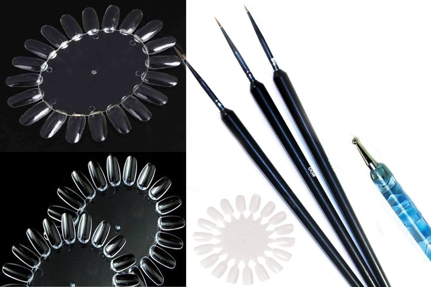 JOVANA 3pcs Precision Sable Nail Art Detailing Liner Brushes Plus 3 x Clear Practice Nail Design Display Wheels & Dotting Tool
