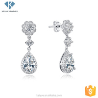 Luxury costume cubic zirconia wedding drop earrings jewelry made in china