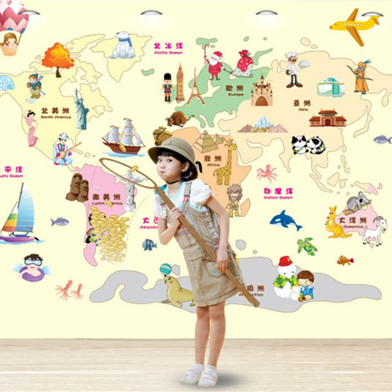 Cheap map posters for kids find map posters for kids deals on line get quotations travel round the world map children puzzle wall stickers 3d vinyl decals for kids rooms decoration gumiabroncs Image collections