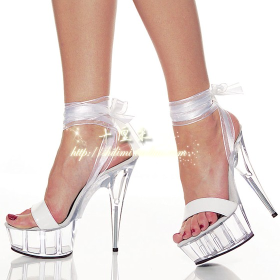 60a710a30ed9 Get Quotations · Free Shipping 2014 women shoes 6 inch sexy crystal shoes  strappy sandals white strap wedding shoes