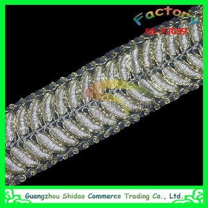 Shidao african gold polyester/cord fabric textile lace for Wedding Shrugs Garment Factory