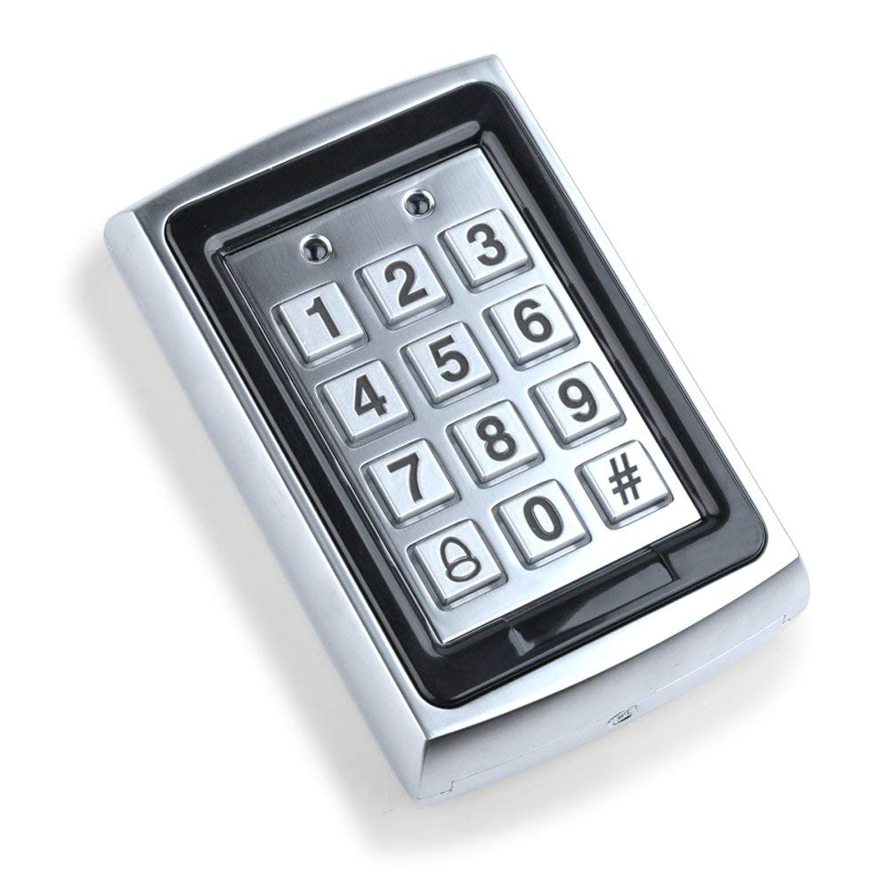 HFeng 125KHz RFID Metal Access Control Keypad Standalone Access Controller EM Card Reader for Door Lock System WG26 Output
