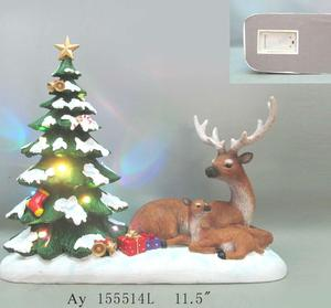 11.5 Inch Christmas Reindeer Statue With LED lights