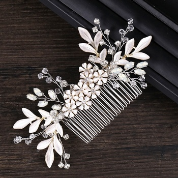 handmade wire bridal hair comb wedding crystal hair decoration combs for lady